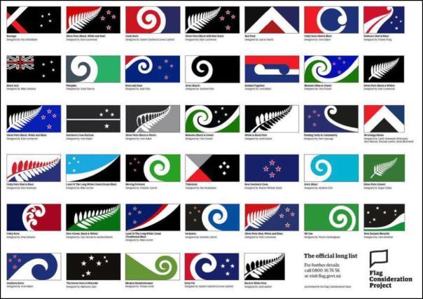 os 40 modelos finalistas, daí sairão 4   que irão para o referendo nacional...Foto: Foto: NZ Government